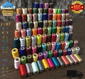 100 Spools of Silk Art Rayon Sewing Machine Embroidery Best Quality Thread | UK