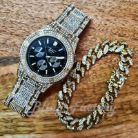 HIP HOP GOLD PT LUXURY BLACK DIAL WATCH & ICED CUBAN BOX LOCK BRACELET SET