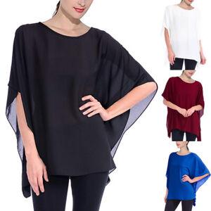 Casual Ladies Batwing Chiffon Tunic Top Evening Party Loose Blouse Kaftan Shirt