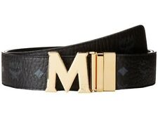 NEW MCM Men's Claus Reversible Gold Buckle Belt - Black