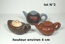 lot de 3 théières miniature en terre cuite ,collector,décoration vitrine lot 2