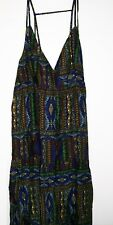 NEXT Tribal Print Tiered Maxi Dress Navy Brown Sleeveless Size 10 Nes