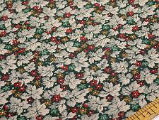 "Vintage Cotton IVY LEAF FLORAL Green White Browns 44"" x 46""     B10"