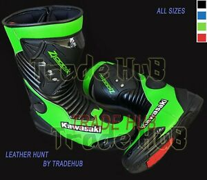KAWASAKI Z1000SX MOTORCYCLE RIDING LEATHER BOOTS MOTORBIKE LEATHER SHOES