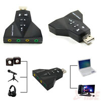 New USB 2.0 to 3D Virtual Audio Sound Card Mic Speaker Adapter Converter 7.1 CH