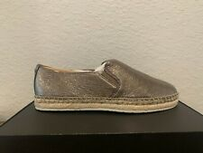 Frye Isbel Espadrille Women's Comfort Slip On Shoes Moccasins Metallic Leather