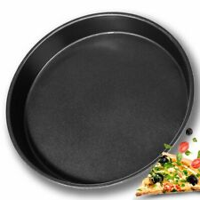 """10"""" Non Stick Pizza Tray Carbon Steel Baking Round Oven Tray Pizza Pan Black"""