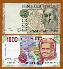SET Italy, 2 x 1000 Lire, 1982, 1990, P-109-114, UNC > Marco Polo, Montessori