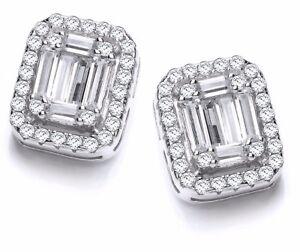 Sterling Silver Stud Earrings Square Clear Cubic Zirconia Stones J JAZ