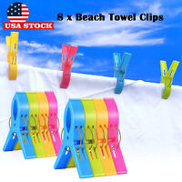 Large Beach Towel Clips Windproof Plastic Sun Bed Lounger Holder Clips 8 Pack