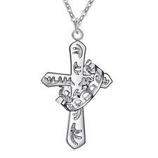 925 Silber PL KRONE Kette Anhänger Kreuz Halskette Amulett Schutzanhänger Unisex