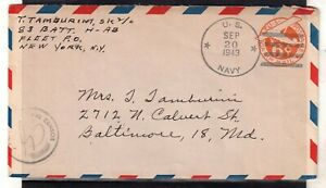 USA = WW2 1943 U.S. NAVY 6c Air Mail cover. Naval Censor cachet. . (Jy20qm)