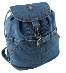 WESTERN-SPEICHER Jeans Backpack Blue With Swarovski Element Rhinestone 09