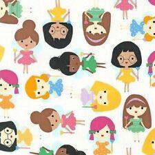 Robert Kaufman Cotone fabric.girl amici in Bright. bacchetta magica, la fairys.by FQ