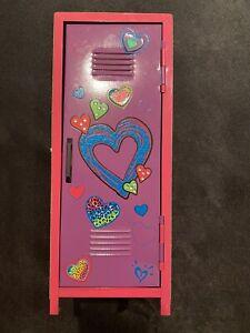 Girls Tween Brand Pink Mini Locker, Metal with Hearts & Cheetah Sides EUC