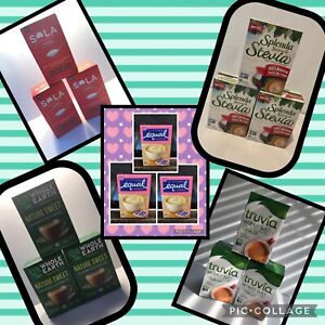 Lot of 3 Nature Sweet Whole Earth Splenda Naturals Sweetener Truvia Equal Packet