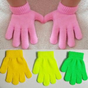 Magic Gloves Kids Boys Girls Children Winter Warm Stretch Black Neon Colour Baby