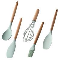 Set di utensili da cucina antiaderenti in silicone da 5 pezzi con supporto verde