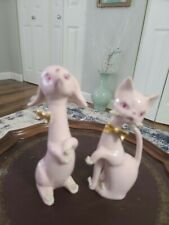 New ListingVintage Porcelain Cat And Dog Spaghetti Figurines Pink Rhinestone Eyes