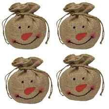 Primitive Burlap Snowman Snowballs Lot of 4 Jute Drawstring Country Christmas
