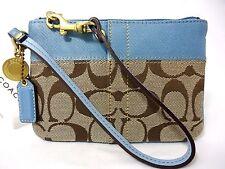 NWT Coach Sig Jacquard Blue Khaki Wristlet Lurex Stripe Coin ID Leather 41203