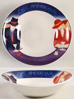 "4 Set- Sango Cafe Americana 7.5"" Oval Coupe Soup Bowls Plate | Couple MartiniBar"