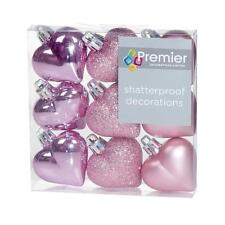 Christmas Tree Decoration 9 Pack 40mm Shatterproof Heart Baubles - Pink
