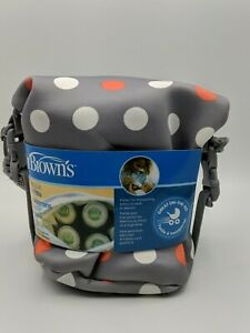 Dr. Brown's Baby Bottle Insulated Tote Bag Convertible - Gray Polka Dot