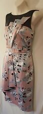 BNWT size 10 TARGET sleeveless pleated illusion floral satin dress apricot grey