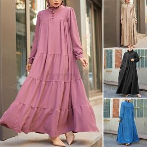 ZANZEA UK Womens Long Sleeve Solid Abaya Muslim Layered Tiered Kaftan Maxi Dress
