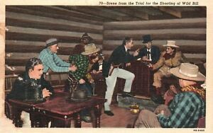 Vintage Postcard 1920's Scene From Trial Shooting Of Wild Bill