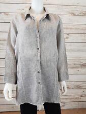 Foxcroft Womens Tunic Size 20W White & Brown Stripes 3/4 Sleeves 100% Linen Top