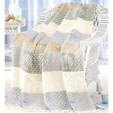 "SeaShells By Seashore Throw Blanket Cover Warm w/ Fringe 48"" x 62"""