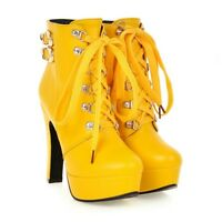 Womens Combat High Heels Platform Short Ankle Boots Lace Up Buckle Chunky Shoes