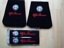 SET OF ALFA ROMEO HEADREST COVERS & A PAIR OF ALFA ROMEO SEAT BELT COVERS