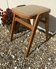 Vintage Retro Kitchen Wooden Stacking Stool Mid Century Wood Effect Vinyl Seat