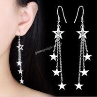 925 Sterling Silver Women Korean Star Threader Hook Dangle Earrings Xmas Gift