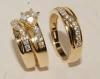 14K Yellow Gold Over His & Hers 2.00 Ct Diamond Engagement Wedding Trio Ring Set