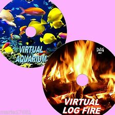 SOOTHING VIRTUAL AQUARIUM + WARM LOGFIRE TWIN DVD SET FOR FLATSCREEN TV/PC NEW