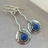 Women 925 Silver Blue Sapphire Dangle Drop Earrings Ear Hook Wedding Party