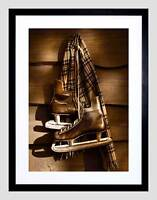 OLD ICE HOCKEY SKATES SPORT SEPIA PHOTO ART PRINT POSTER PICTURE BMP159A