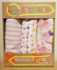 BNIB Baby - LILY & JACK - Muslin 3 Pack 100% Cotton PINKS & WHITE - Ideal Gift