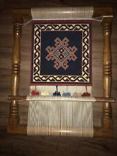 New ListingUsed Wooden Weaving Loom With Unfinished Tapestry 25x19�