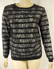 NEW City Chic Black Long Sleeve Stripe Lace Jumper Top Size XS 14 BNWOT #C1076