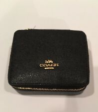 Authentic Coach Crossgrain Leather Jewelry Box Black NEW STYLE F66502