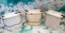 French vintage set of 3 enamel lunch pail,lunch box cream mottled effect.