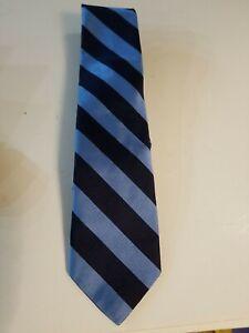NEW With Tag Ralph Lauren POLO Mens SILK Tie Navy & Light Blue Stripe  List $125