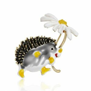 Charm Lovely Cartoon Hedgehog Daisy Enamel Brooch Pin Badge Women Jewelry Gifts