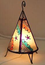 Esclusiva Lampada da tavolo Marocchino. Crema con Viola Henna Lampada etnica.