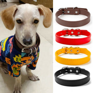 PU Leather Pet Dog Collars Metal Buckle Necklace XS - L